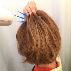 ショートヘアの乾かし方画像