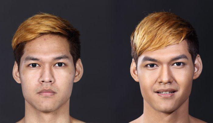 男性 肌の比較